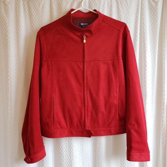 Red Faux Suede Moto Jacket Wm Sz 12